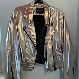 Metallic gold faux leather bomber jacket